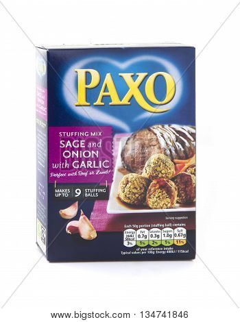 SWINDON UK - JUNE 17, 2016: Packet of Paxo Sage and Onion with Garlic stuffing on a white background