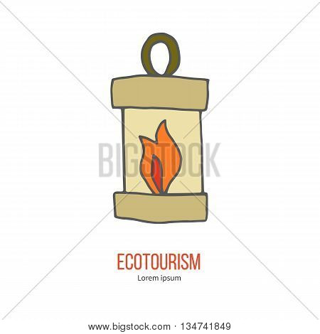 Burning candle and oil lamp. Ecotourism colorful flat design element isolated on a white background. Emblem, design concept, logo, logotype template. Hand drawn doodle vector illustration.