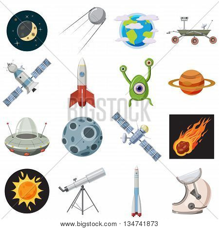 Space icons set in cartoon style isolated on white background