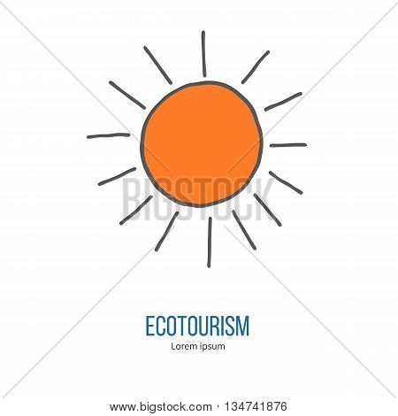 Shining sun. Ecotourism colorful flat design element isolated on a white background. Emblem, design concept, logo, logotype template. Hand drawn doodle vector illustration.