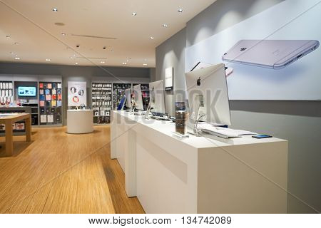KUALA LUMPUR, MALAYSIA - MAY 09, 2016: electronics store in Suria KLCC. Suria KLCC is located in the Kuala Lumpur City Centre district. It is in the vicinity of the landmark the Petronas Towers.