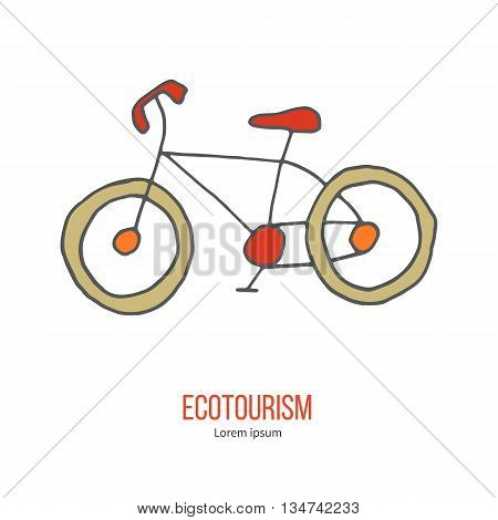Bicycle. Ecotourism colorful flat design element isolated on a white background. Emblem, design concept, logo, logotype template. Hand drawn doodle vector illustration.