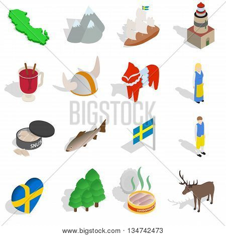 Sweden icons set in isometric 3d style isolated on white background