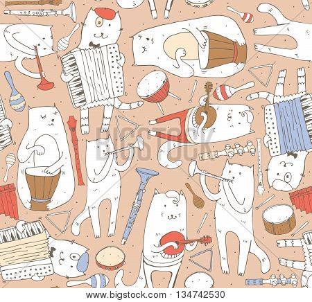 Seamless pattern with musician cats and music instruments in pastel colors. Cats are playing on drum accordion tube guitar. Vector handdrawn illustration cute. Kind child cartoon for kids products.