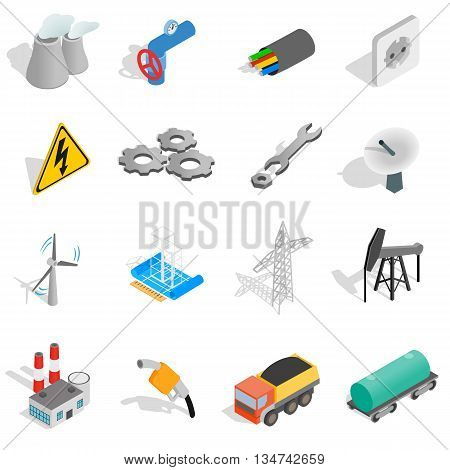 Industrial icons set in isometric 3d style isolated on white background