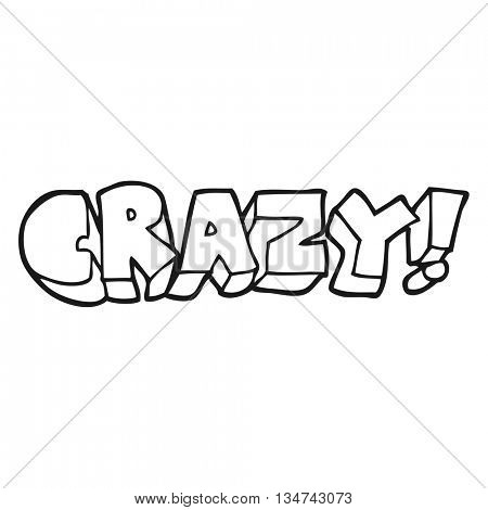 freehand drawn black and white cartoon shout crazy