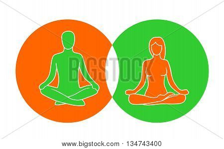 Man and woman of lotus yoga pose. Lotus pose. Vector illustration for icon web. Isolated on color background. For web logotype icon banner poster.