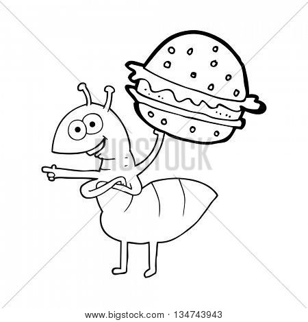 freehand drawn black and white cartoon ant carrying food