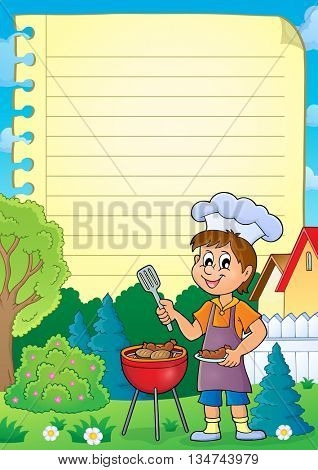 Lined paper with barbeque theme 1 - eps10 vector illustration.