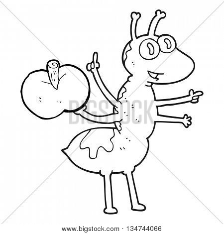 freehand drawn black and white cartoon ant with apple