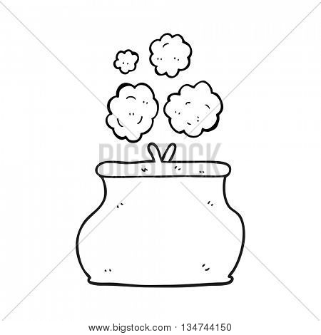 freehand drawn black and white cartoon purse