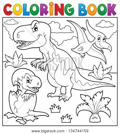 Coloring book dinosaur topic 9 - eps10 vector illustration.