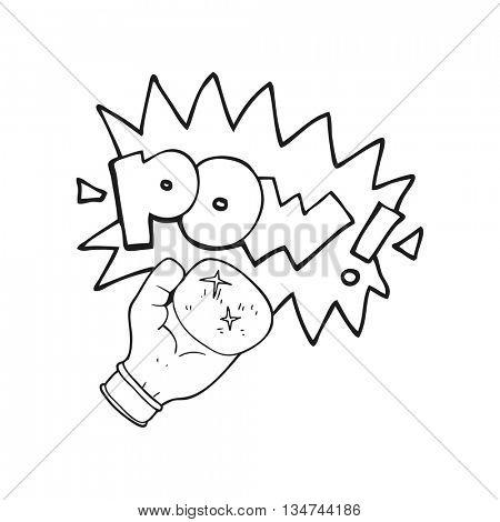 freehand drawn black and white cartoon boxing glove punching