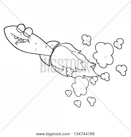 freehand drawn black and white cartoon missile