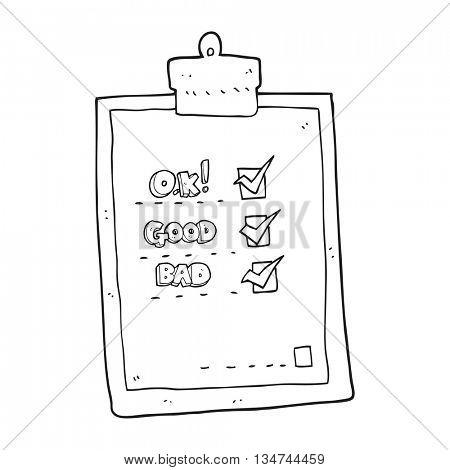 freehand drawn black and white cartoon check list