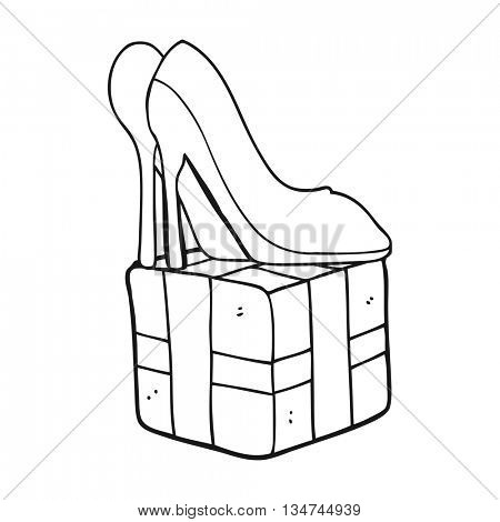 freehand drawn black and white cartoon high heel shoes gift