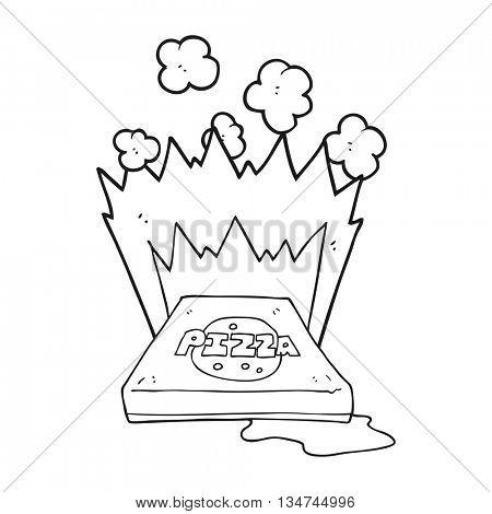 freehand drawn black and white cartoon amazing pizza