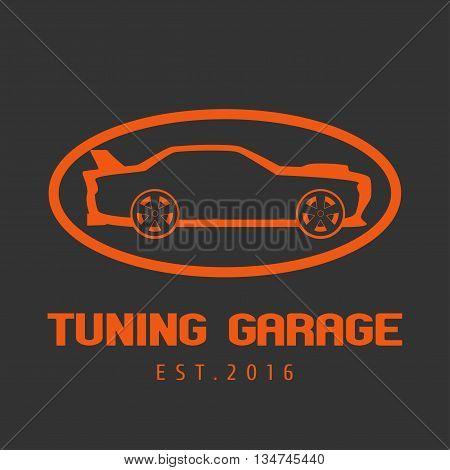 Tuning garage car service vector logo. Car care concept