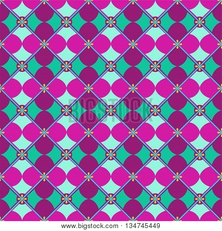 Vector colored background with lilac and purple geometric flower green mint background. For the decoration.
