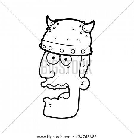 freehand drawn black and white cartoon screaming warrior man