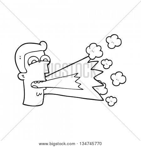 freehand drawn black and white cartoon shouting man