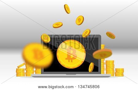 Bitcoin mining equipment. Digital Bitcoin. Golden coin with Bitcoin symbol. Flat isometric coins bitcoin concept.