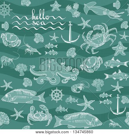 Seamless pattern  marine themed with fish, shrimp, crab, helm, shell, starfish, squid,  octopus, anchor handwritten words hello sea. Retro underwater pattern on aquamarine background.
