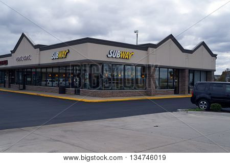 JOLIET, ILLINOIS / UNITED STATES - OCTOBER 9, 2015: One may eat sandwiches at the Subway restaurant, in the Crossroads Plaza.