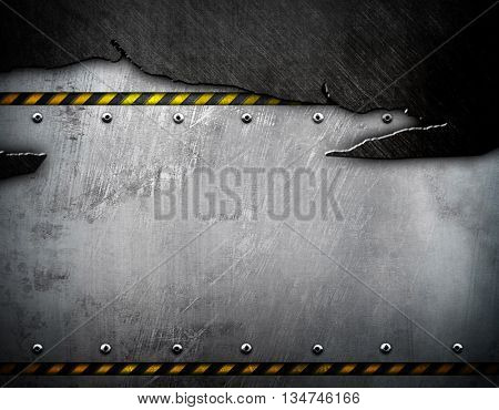 cracked metal template with warning striped background