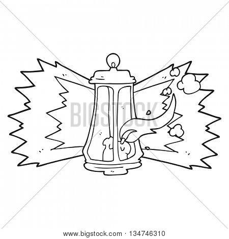freehand drawn black and white cartoon spooky lantern