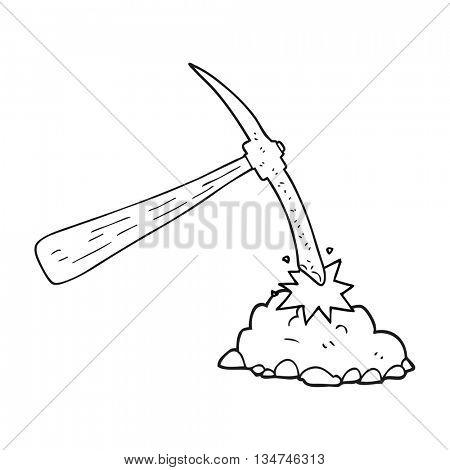 freehand drawn black and white cartoon pick axe