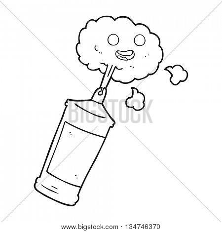 freehand drawn black and white cartoon spraying whipped cream