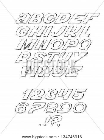 Script font cursive black on white background hand drawn simple isolated with numbers and punctuation marks. Vector illustration can be used for headings lettering design.