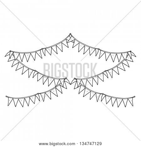 freehand drawn black and white cartoon bunting flags