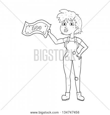 freehand drawn black and white cartoon confident farmer woman with money