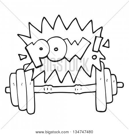 freehand drawn black and white cartoon gym barbell