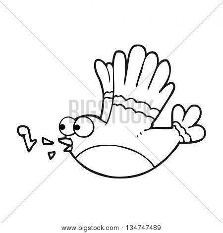 freehand drawn black and white cartoon singing bird
