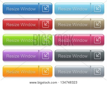 Set of resize window glossy color captioned menu buttons with embossed icons