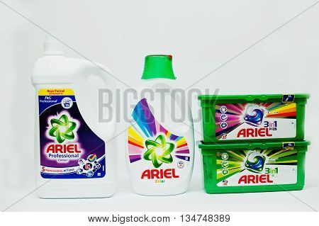 Berezovitsa, Ukraine - Circa June, 2016: Set Of Washing Gel And Detergent For Laundry Ariel