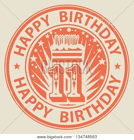 Grunge rubber stamp with candles cake and the text Happy Birthday written inside the stamp, vector illustration