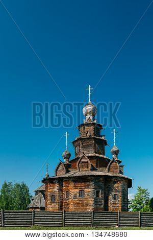 Church of Transfiguration in Old Russian Town of Suzdal Russia. Preobrazhenskaya church from village Kozlyatevo transported in Suzdal - monument of wooden architecture of middle of XVIII century.