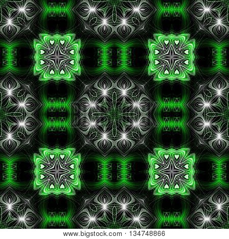 Abstract decorative green and white texture - kaleidoscope pattern
