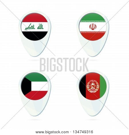 Iraq, Iran, Kuwait, Afghanistan Flag Location Map Pin Icon.