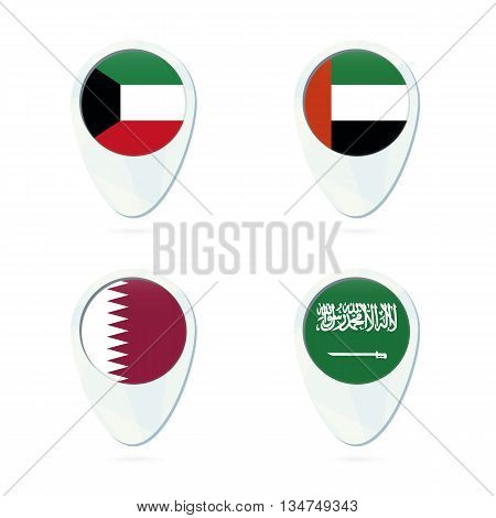 Kuwait, United Arab Emirates, Qatar, Saudi Arabia Flag Location Map Pin Icon.