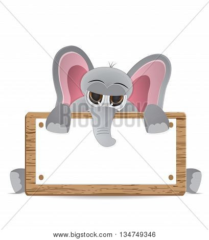 cute lazy elephant peek behind text box
