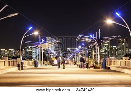 DALLAS USA - APR 8: The Continental Avenue pedestrian Bridge illuminated at night. April 8 2016 in Dallas Texas United States