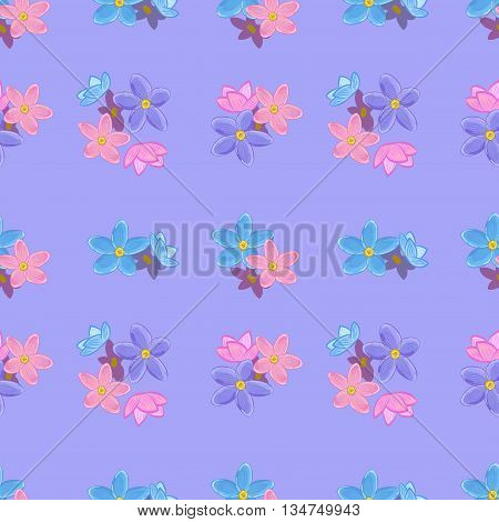 Floral seamless pattern with forget-me-not. Forget me not flowers.