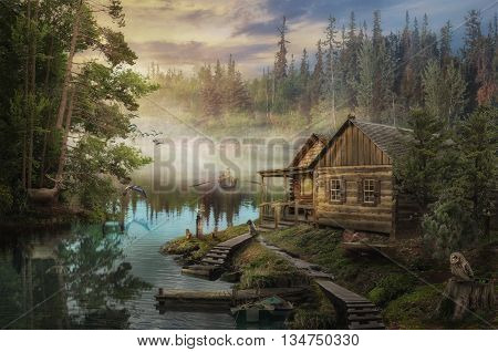 Forester's Cabin by the river in the forest (illustration of a fictional situation in the form collage of photos)