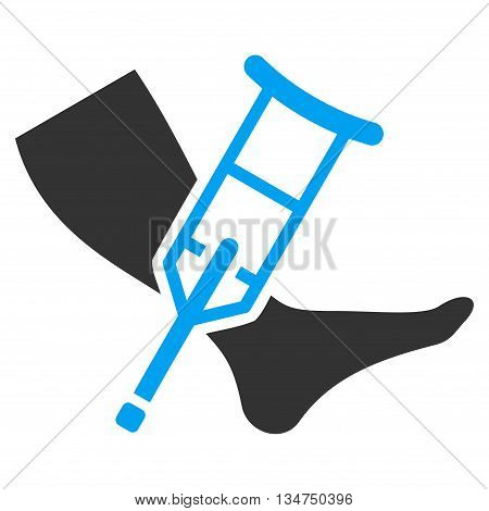 Leg and Crutch vector icon. Style is bicolor flat icon symbol with rounded angles, blue and gray colors, white background.