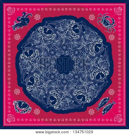 Blue and pink bandana square pattern design for print on fabric. Kerchief or neck scarf style. Mandala vector illustration with crabs, squids, starfishes, shells and waves.